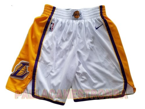 Offerte Pantaloni Basket Los Angeles Lakers Nike Bianco 2018
