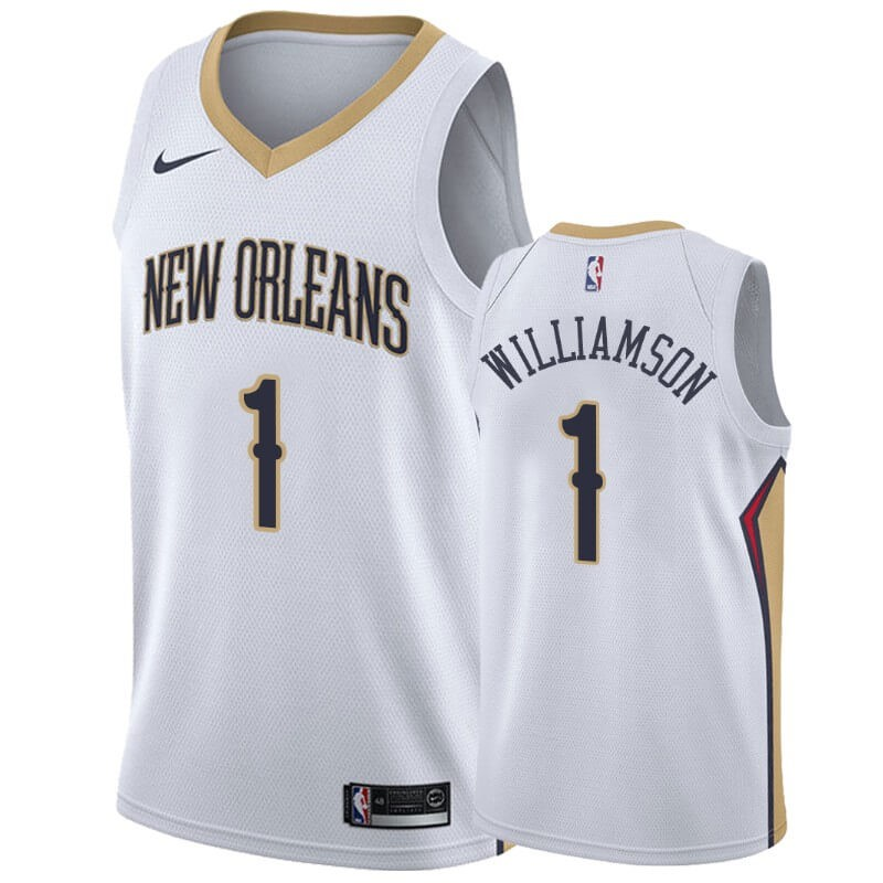 Offerte Maglia NBA Nike New Orleans Pelicans NO.1 Zion Williamson Bianco Association