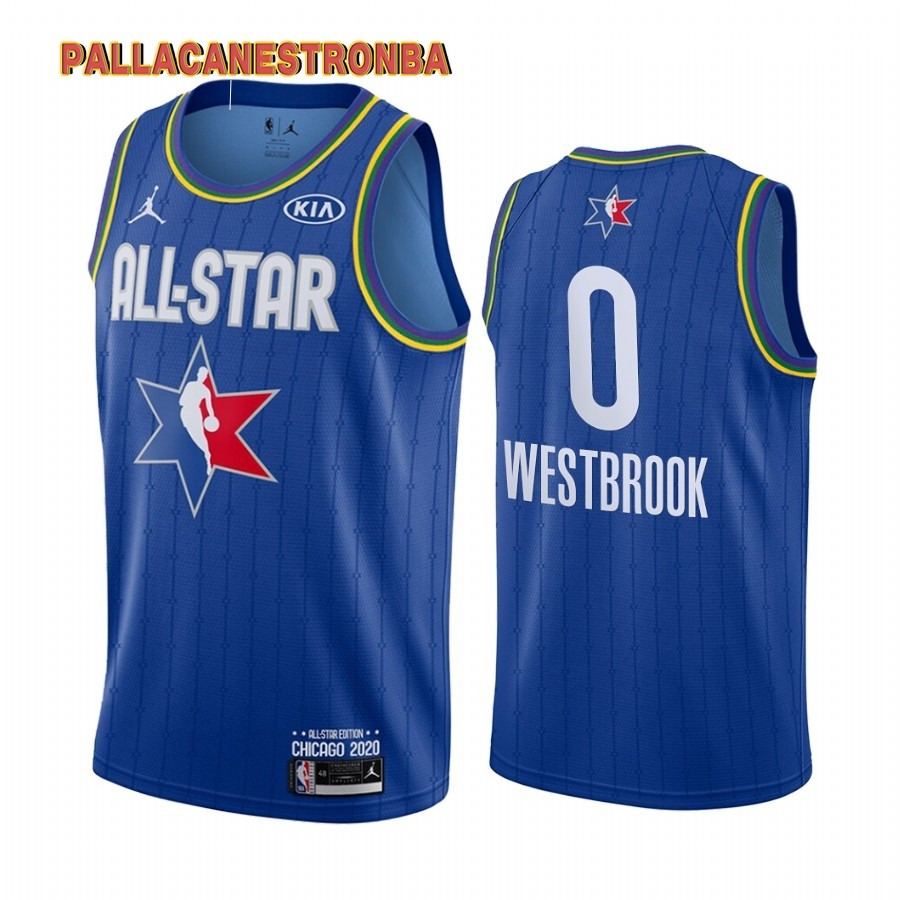 Offerte Maglia NBA 2020 All Star NO.0 Russell Westbrook Blu