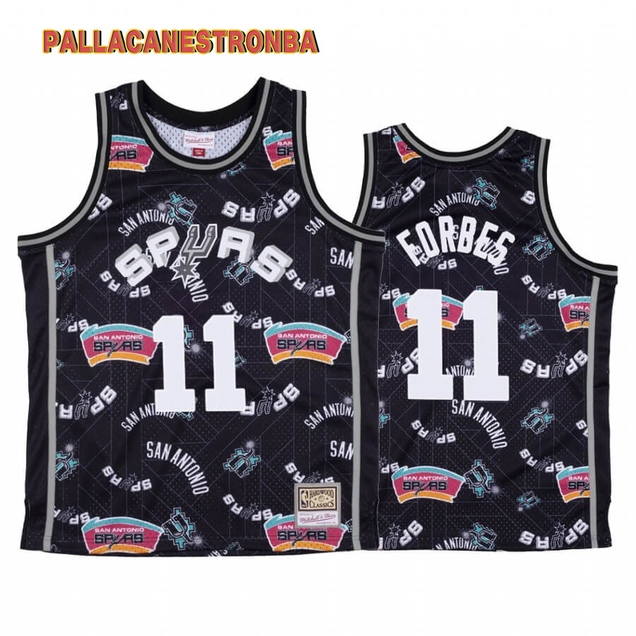 Offerte Maglia NBA San Antonio Spurs Tear Up Pack NO.11 Bryn Forbes Nero Hardwood Classics