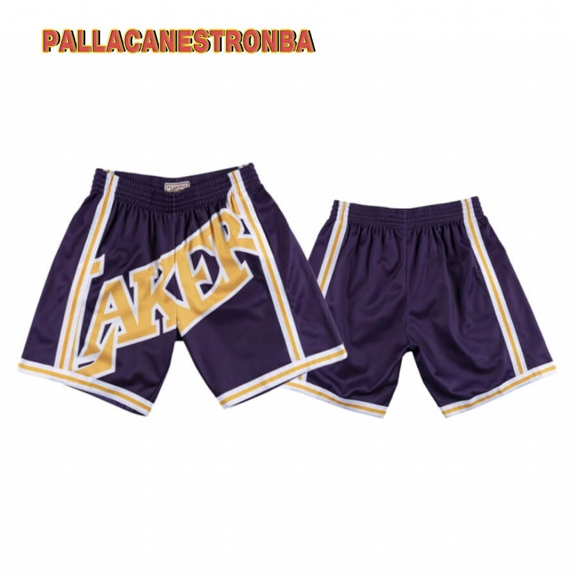 Offerte Pantaloni Basket Los Angeles Lakers Big Face Porpora Hardwood Classics