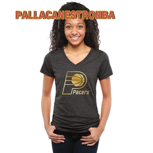 Offerte T-Shirt Donna NBA Indiana Pacers Nero Oro